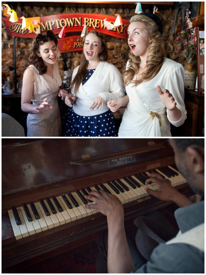 Brighton, brighton promo shoot, Brighton music promo shoot, The Victory Dolls, Brighton harmony group, 40s girl band, Laurenbythesea Photography, portrait photographer Sussex, portrait photographer Kent, vintage style photo shoot, vintage clothes, To Be Worn Again Brighton, Kemp Town pub, best Brighton pub, smallest Brighton pub, Richard Morson pianist, Heart in hand pub, pianist Brighton, piano player Brighton